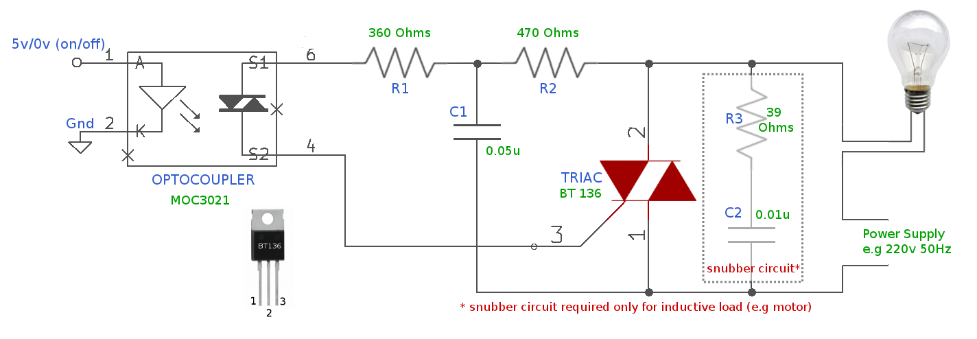 triac switch to control high voltage devices sigmatone rh sigmatone com triac circuit diagram triac dimmer circuit diagram